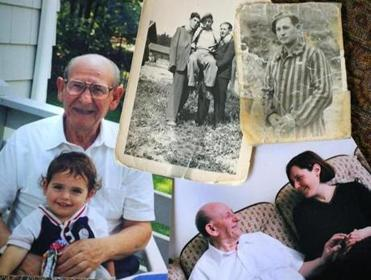 Photos of Aron Lieb: holding Max Resnick; with friends (he is on right) in a displaced persons camp in the late '40s; at a camp shortly after his liberation; with Susan Kushner Resnick.